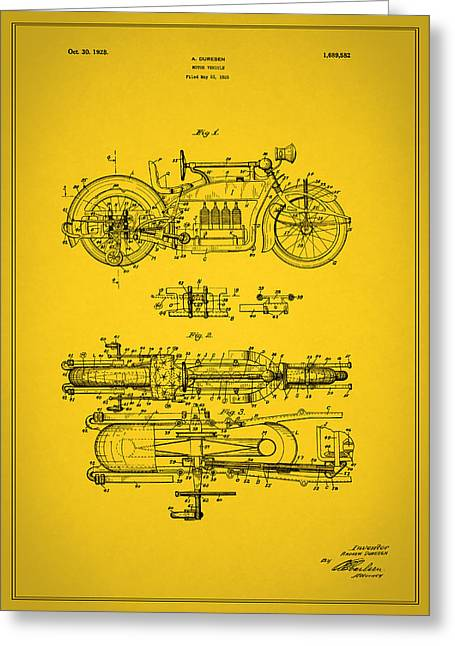Motorcycle Greeting Cards - Motorcycle Design Patent 1928 Greeting Card by Mark Rogan