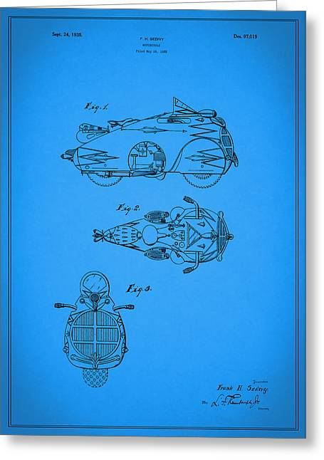 Motorcycles Greeting Cards - Motorcycle Design Patent 1935 Greeting Card by Mark Rogan