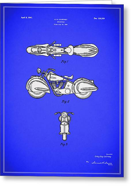 Harley Davidson Greeting Cards - Motorcycle Design Patent 1940 Greeting Card by Mark Rogan