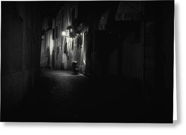 Lamplight Greeting Cards - Motorcycle emptiness Greeting Card by Chris Fletcher