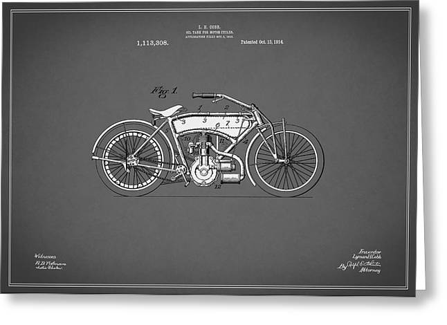 Motorcycles Greeting Cards - Motorcycle Patent 1914 Greeting Card by Mark Rogan