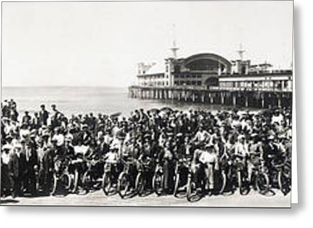 Rally Greeting Cards - Motorcycle Rally - Venice Beach California - 1911 Greeting Card by Daniel Hagerman