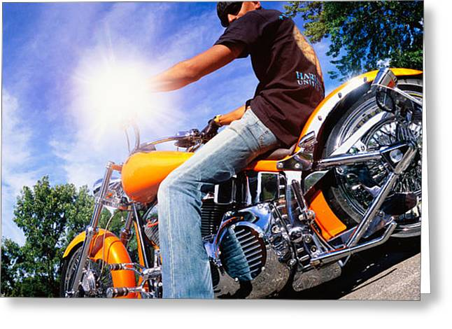 Sun Flare Greeting Cards - Motorcycle Rider Milwaukee Wi Greeting Card by Panoramic Images