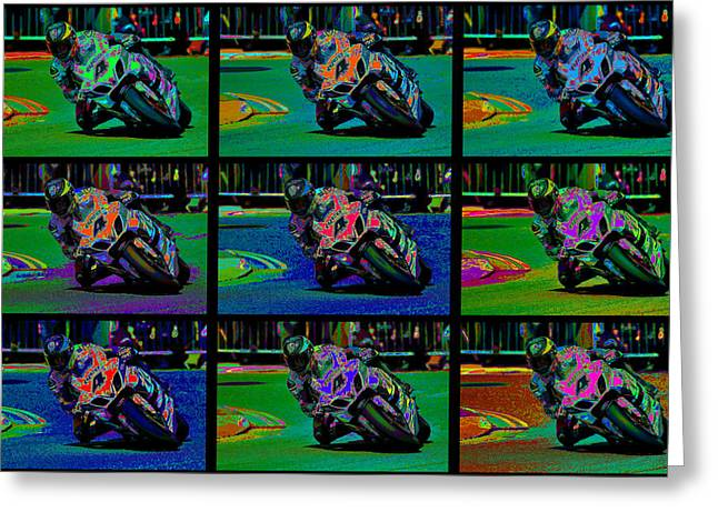 Motorcycles Mixed Media Greeting Cards - Motorcycle Road Race Greeting Card by Daniel Hagerman