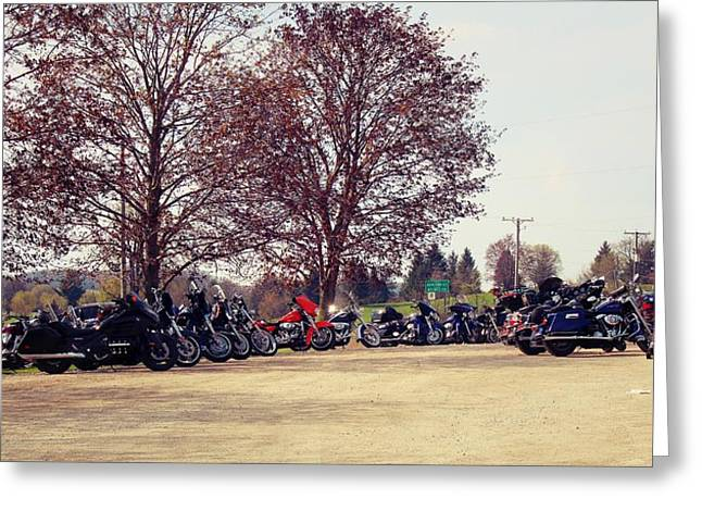 Saloons Greeting Cards - Motorcycles Everywhere Greeting Card by R A W M