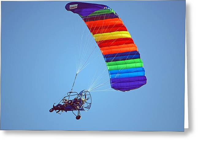 Parasail Greeting Cards - Motorized Parasail 2 Greeting Card by Kenneth Albin