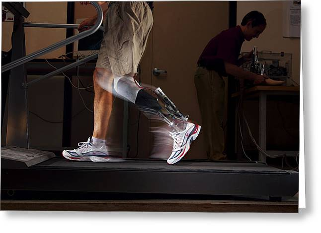 By Humans Greeting Cards - Motorized Springs In A Powered Ankle Greeting Card by Mark Thiessen