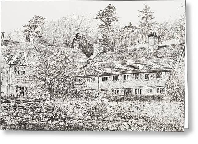 Pen And Ink Drawings Greeting Cards - Mottistone Hall  Isle of Wight Greeting Card by Vincent Alexander Booth