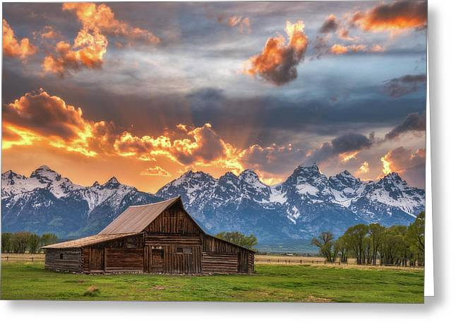 Moulton Barn Sunset Fire Greeting Card by Darren White