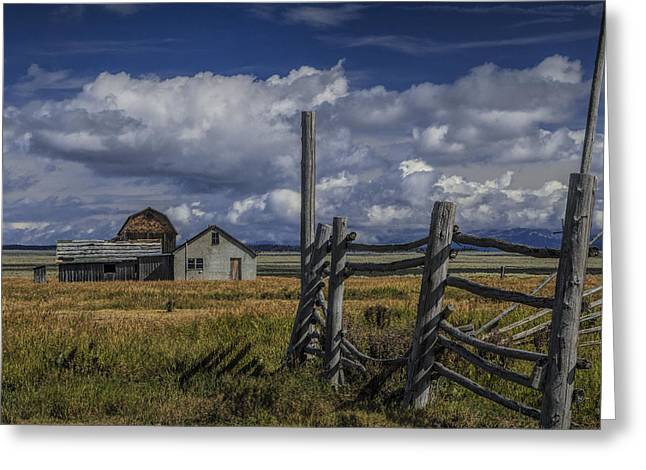 Brown Toned Art Greeting Cards - Moulton Mormon Farm by Coral Fence Greeting Card by Randall Nyhof