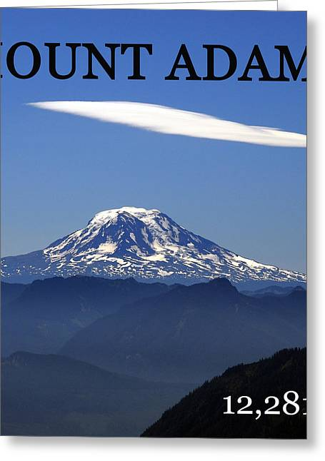 Snow Capped Greeting Cards - Mount Adams poster  Greeting Card by David Lee Thompson