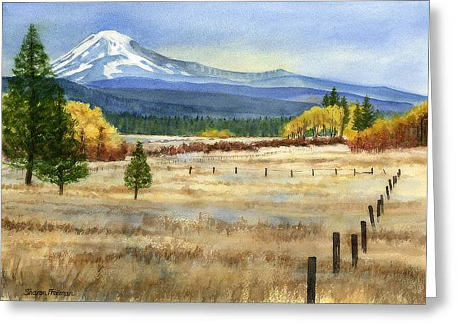 Fall Grass Paintings Greeting Cards - Mount Adams  Greeting Card by Sharon Freeman