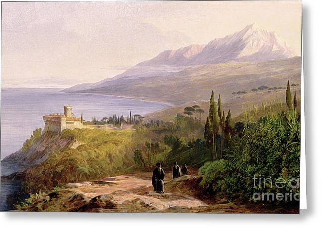 Mount Athos and the Monastery of Stavroniketes Greeting Card by Edward Lear