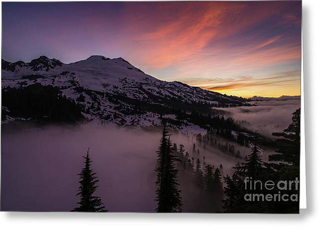Mount Baker Sunrise Peaceful Morning Greeting Card by Mike Reid