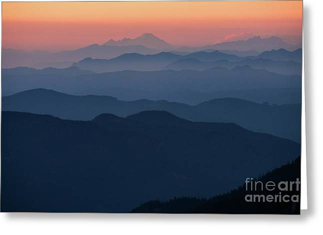 Mount Baker Sunset Landscape Layers Closer Greeting Card by Mike Reid