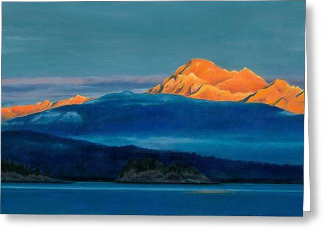 Wa Paintings Greeting Cards - Mount Baker Sunset Greeting Card by Marie-Claire Dole