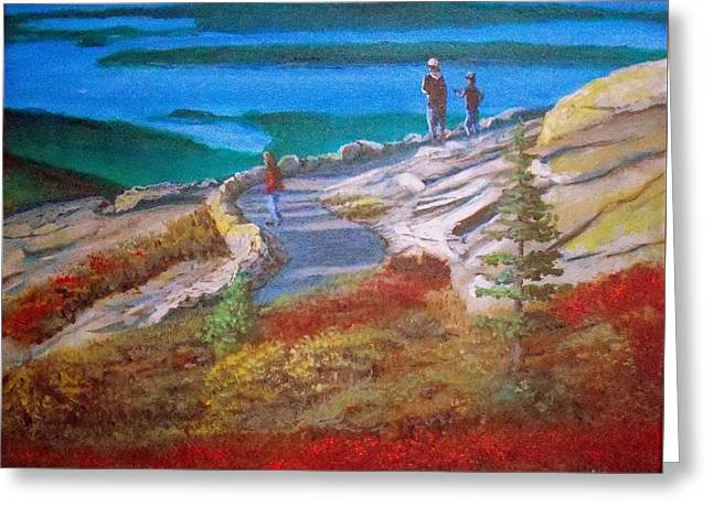 Lamdscape Greeting Cards - Mount Cadilac Path Greeting Card by William Tremble