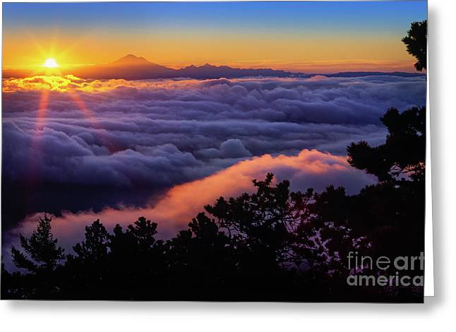 Baker Island Greeting Cards - Mount Constitution Sunrise Greeting Card by Inge Johnsson