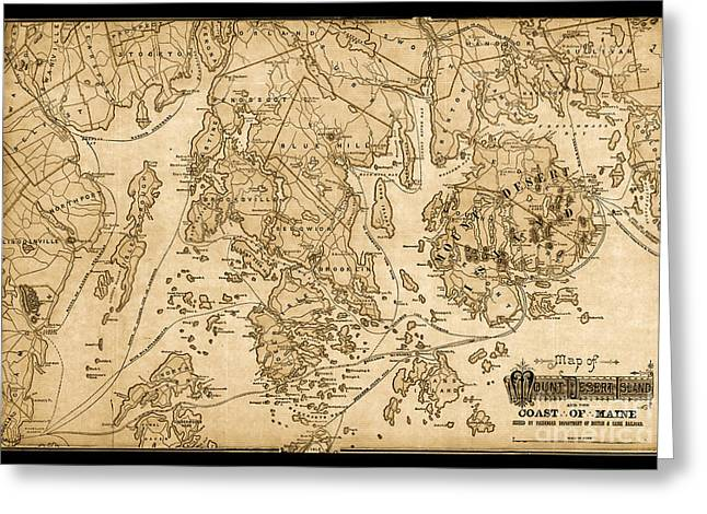 Jordan Trail Greeting Cards - Mount Desert Isle And The Coast Of Maine Vintage Map Greeting Card by John Stephens