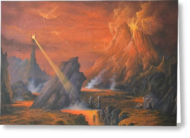 Legolas Greeting Cards - Mount Doom The Eye of Sauron Greeting Card by Joe  Gilronan
