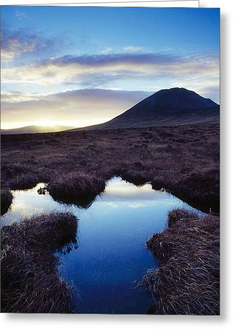 Reflections Of Sky In Water Greeting Cards - Mount Errigal, County Donegal, Ireland Greeting Card by Gareth McCormack