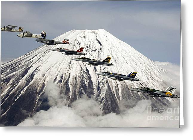Carrier Greeting Cards - Mount Fuji Flight Greeting Card by Celestial Images