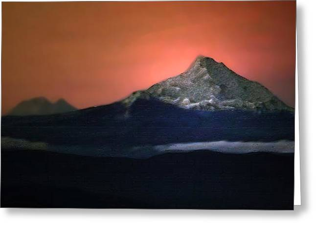 Abstract Digital Photographs Greeting Cards - Mount Hood At Sunrise Greeting Card by Lana Art