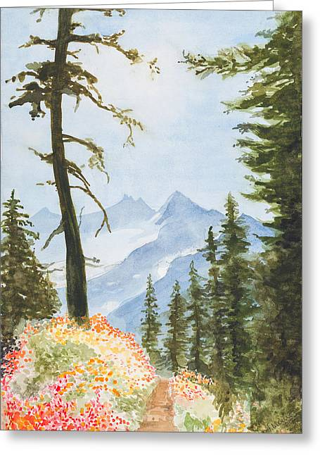 Huckleberry Paintings Greeting Cards - Mount Jefferson Greeting Card by Jean Moule