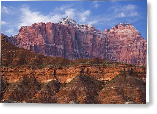 Best Sellers -  - Slickrock Greeting Cards - Mount Kinesava in Zion National Park Greeting Card by Utah Images
