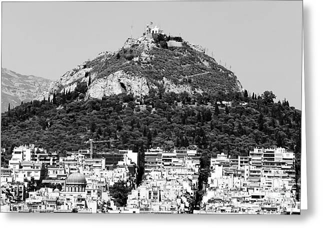 Recently Sold -  - Greek School Of Art Greeting Cards - Mount Lykavittos Greeting Card by John Rizzuto
