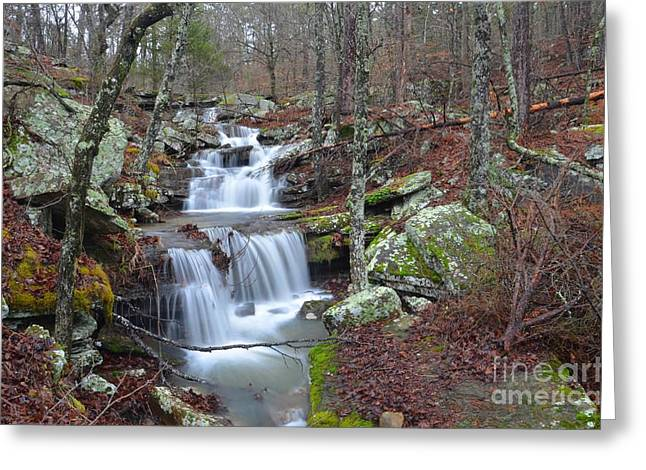 Mt Magazine Greeting Cards - Mount Magazine Waterfall Greeting Card by Deanna Cagle
