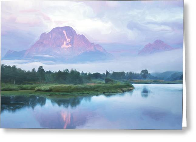 Moran Greeting Cards - Mount Moran Digital Painting Greeting Card by Donald Schwartz