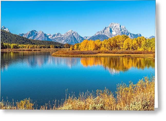 Snake Hole Greeting Cards - Mount Moran from the Snake River in Autumn Greeting Card by James Udall