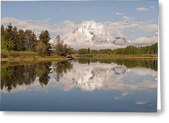 Snake Hole Greeting Cards - Mount Moran On Oxbow Bend Panorama Greeting Card by Brian Harig