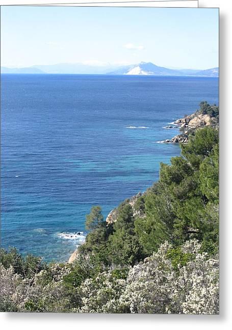 Pelion Greeting Cards - Mount Pelion from Skiathos Island Greece Greeting Card by Yvonne Ayoub