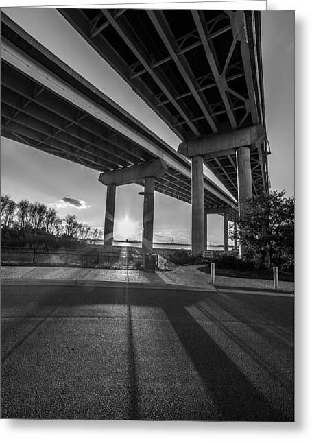 Mount Pleasant Waterfront Park Black And White Greeting Card by Donnie Whitaker