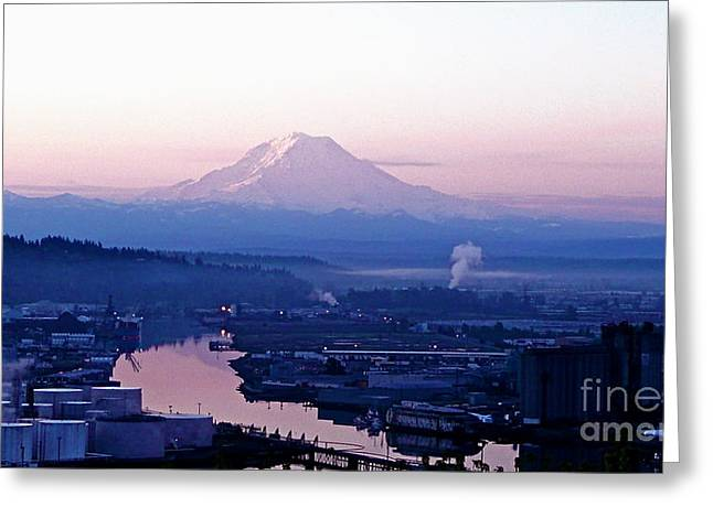 Sean Griffin Greeting Cards - Mount Rainier dawn above Port of Tacoma Greeting Card by Sean Griffin