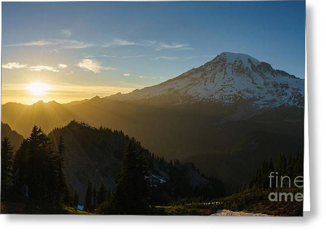Washington Beauty Greeting Cards - Mount Rainier Dusk Fallen Greeting Card by Mike Reid