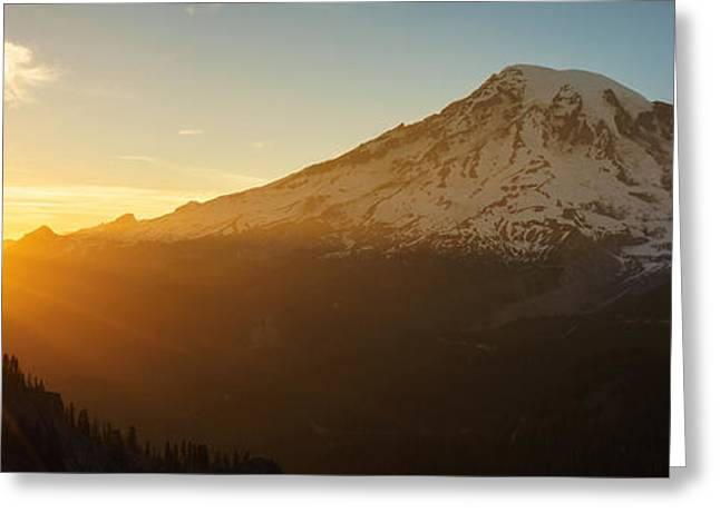 Washington Beauty Greeting Cards - Mount Rainier Evening Light Rays Greeting Card by Mike Reid