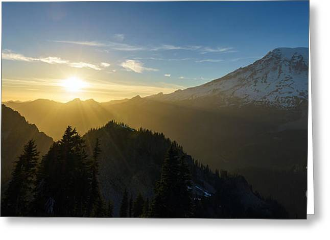 Washington Beauty Greeting Cards - Mount Rainier Golden Dusk Light Greeting Card by Mike Reid