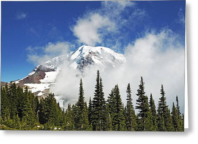 Crevasses Greeting Cards - Mount Rainier In Clouds Greeting Card by Brendan Reals