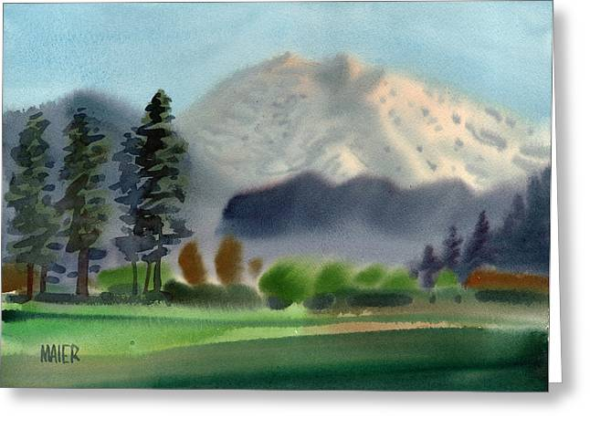 Mt Greeting Cards - Mount Rainier in Evening Greeting Card by Donald Maier