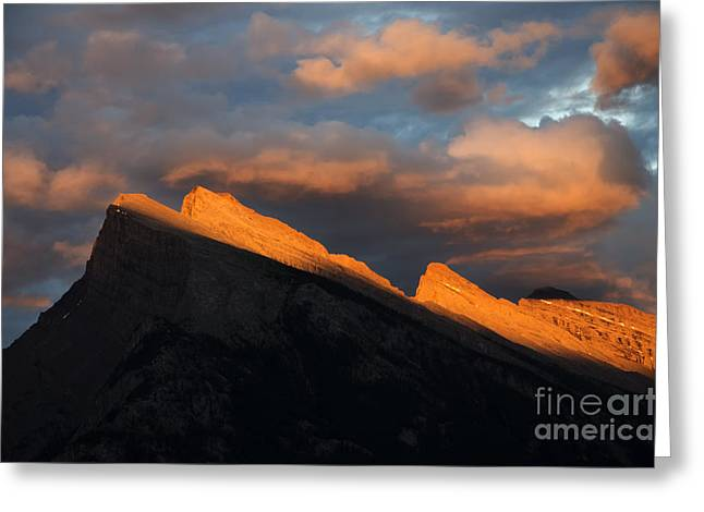Rundle Greeting Cards - Mount Rundle Fire In The Sky  Greeting Card by Bob Christopher