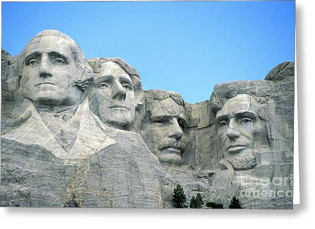 Carved Greeting Cards - Mount Rushmore Greeting Card by American School