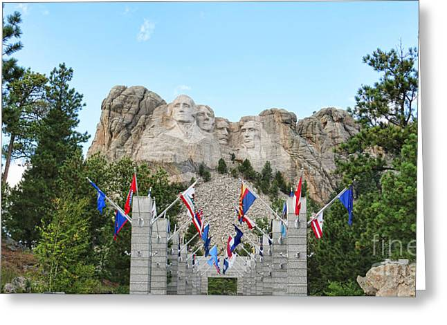 Gutzon Greeting Cards - Mount Rushmore Entrance  8713 Greeting Card by Jack Schultz