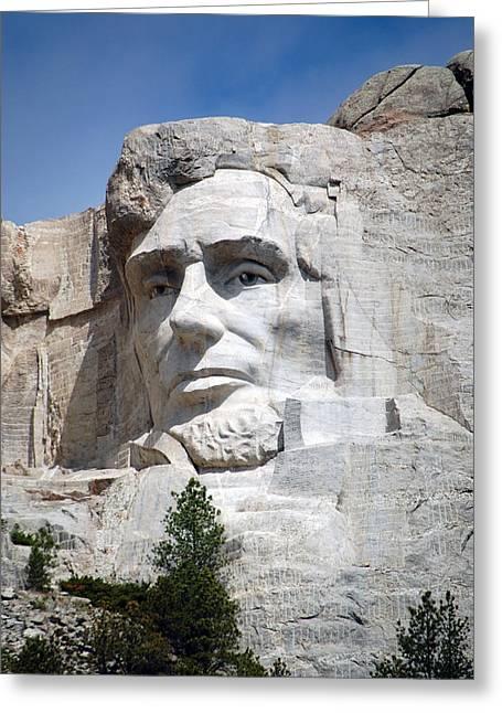 Landmarks Photographs Greeting Cards - Mount Rushmore National Landmark President Abraham Lincoln South Dakota Greeting Card by Shawn O