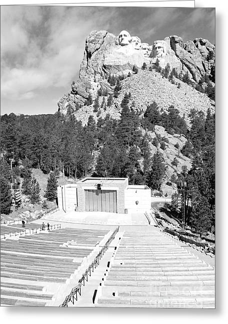Mount Rushmore National Monument Amphitheater South Dakota Black And White Greeting Card by Shawn O'Brien