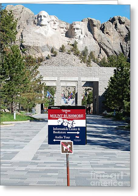 National Parks Greeting Cards - Mount Rushmore National Monument Entrance Sign South Dakota Greeting Card by Shawn O