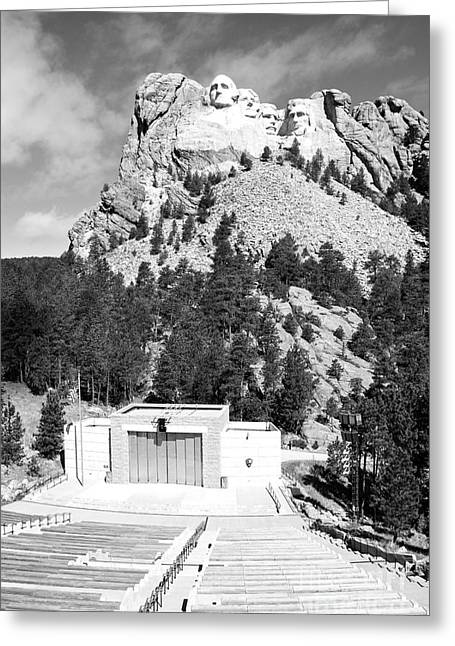 Mount Rushmore National Monument Overlooking Amphitheater South Dakota Black And White Greeting Card by Shawn O'Brien