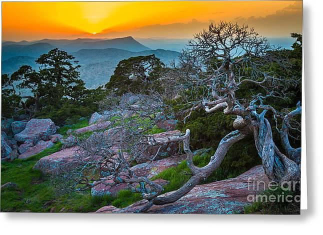 Wildlife Refuge Greeting Cards - Mount Scott Sunset Greeting Card by Inge Johnsson